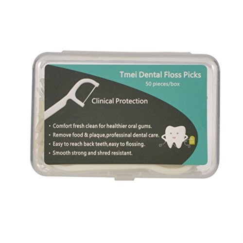 Tmei 100s Floss Picks Oral Flosser Zahnseidensticks Zahnseidenhalter Dental Care,2x 50 Stück