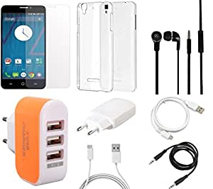 NIROSHA Tempered Glass Screen Guard Cover Case Charger Headphone USB Cable Combo for YU Yureka Combo