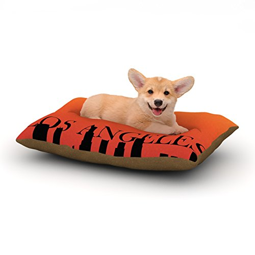 "Kess Inhouse Original ""Los Angeles"" Orange Black Dog Bed, 18 By 28-Inch front-991996"