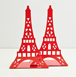 one pair Metal book end cartoon bookends Eiffel Tower shape bookshelf metal made solid color spray paint book Holder Reading Desk Book Stand Folding Bookrest Bookstand support red