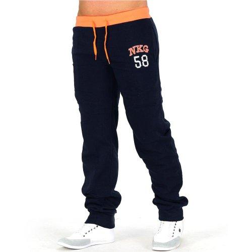 Pantaloni della tuta Uomo ID629 (vari colori), Präzise Farbe:Dunkelblau/Orange;Größe-Hosen:L