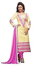 CreationBuddy Pink Embroidered Cotton Salwar Suit Dress Material Chudidar Party,Festive