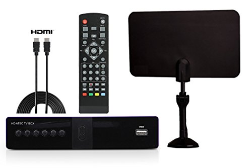 Digital Converter Box + Flat Antenna + HDMI Cord for Recording & Watching Full HD Digital Channels for FREE (Instant & Scheduled Recording, DVR, 1080P, HDMI Output, 7 Day Program Guide & LCD Screen)