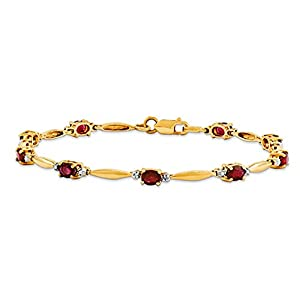 14K Yellow Gold Diamond and African Ruby Oval Bracelet, 7 inches, Beautiful Bracelets For Women