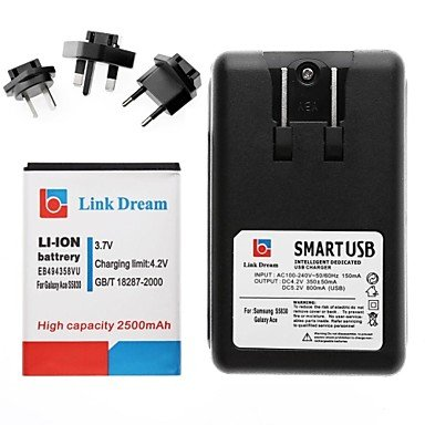 Yyt- Link Dream Cell Phone Battery+Charger+3 X Adapters For Samsung Galaxy S5830 /Galaxy Ace(2500 Mah)