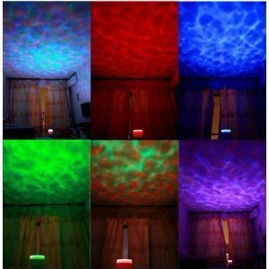 Yupengda Multicolor Ocean Wave Light Projector, 12 Led, Blue, Red, Green, Multicolor, Mp3 Iphone Speaker Led Night Light, Christmas Gift