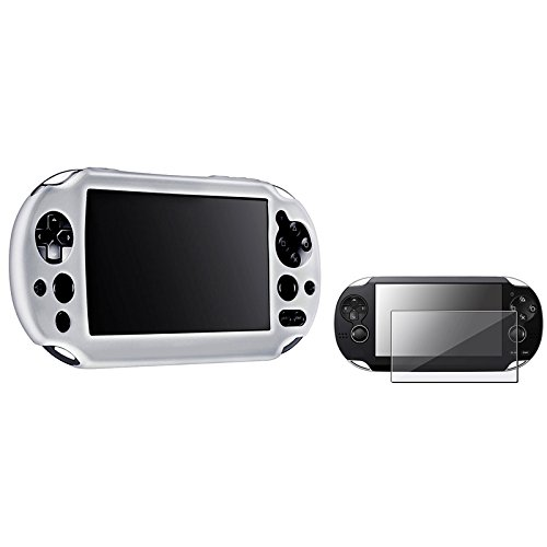 Everydaysource® Compatible With Sony Playstation Vita 2000 Controller White Silicone Skin Case + Anti-Glare Screen Protector