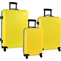 Nautica Luggage Ahoy 3 Piece Hardside Spinner Outer Shell Set, Yellow/Silver, One Size