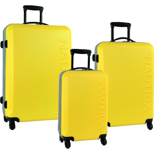 Nautica Luggage Ahoy 3 Piece Hard Side 4 Wheel Spinner Set, Yellow/Silver, One Size B00936LV4Q