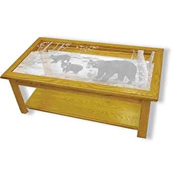 After Read The Reviews Mentioned Before, I Am Sure That You Have Just Begin  To Attract To Oak Glass Top Coffee Table With Black Bear Etched Glass    Black ...