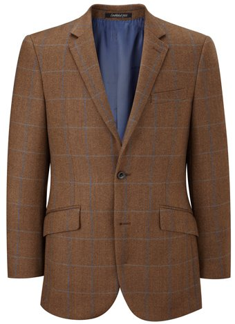 Austin Reed Contemporary Fit Brown/Blue Tweed Jacket LONG MENS 42