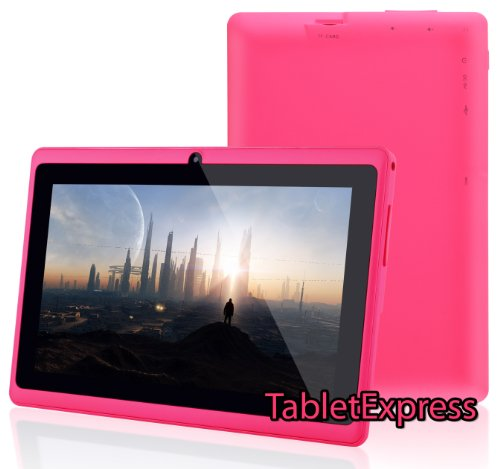 "Dragon Touch® 7"" Pink Google Android 4.2 8GB Allwinner A13 Tablet MID Cortex A8 1.2GHz, Capactive Multiple Touch Screen, Front Camera + Rear Camera, Google Play Pre-Installed, USB-OTG, Supports Skype Video Chat Calling, Netflix Movies and Flash Player MID748P-A13 [by TabletExpress] (Pink)"