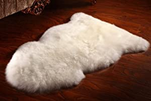 Ivory White XL Zealand Genuine Natural Sheepskin Fur Rug 60 x 105 cm by Barnscroft of Devon