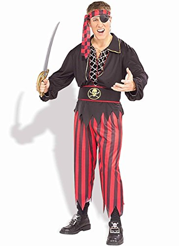 Adult Mens Pirate Ship Crew Matie Captain Costume With Deluxe Lace-Up Shirt