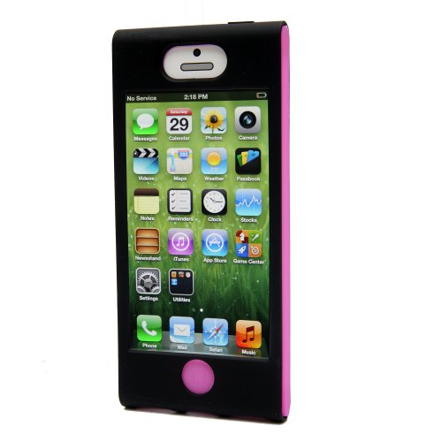 iHangy IHG-ONT-34594 Slip-In 5 Case for iPhone 5 - Retail Packaging - Black/Pink