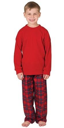 Classic Red Stewart Plaid Flannel Pajamas for Big Boys Size 6