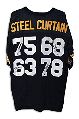 Steel Curtain Pittsburgh Steelers Autographed Jersey Signed by all 4 Members: Joe Greene, L.C. Greenwood, Ernie Holmes & Dwight White