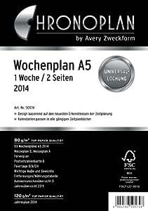 Chronoplan 50574 Kalendarium Wochenplan A5, 1 Woche/2 Seiten, 2014, Anordnung in Zeilen, 1 Stück, weiß