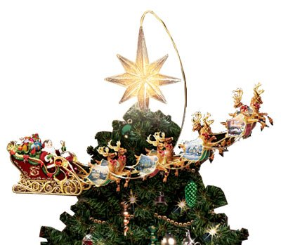 Thomas Kinkade Holidays In Motion Rotating Illuminated Treetopper Animated Christmas Decor By The Bradford Editions Review