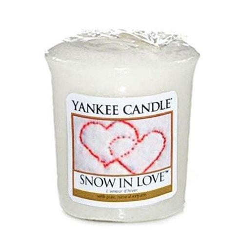 Yankee Candle Samplers Candele Votive Snow in Love, Cera, Bianco, 4.6 x 4.5 x 5.5 cm