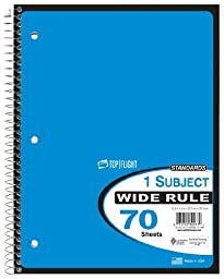 Top Flight Standard One Subject Wide Rule 70 Sheets Spiral Notebook - 6 Pack- Colors Vary