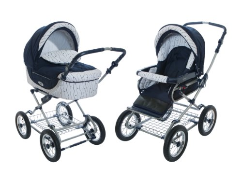 Buy Discount Roan Kortina Classic Pram Stroller 2-in-1 with Bassinet and Seat - Navy-white with Stri...