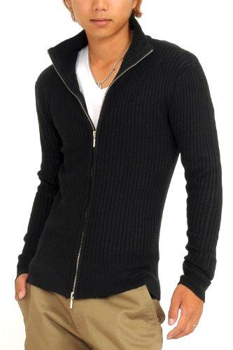(スペイド) SPADE ニット メンズ ジャケット ニットジャケット セーター【q147】 (M, ブラック)