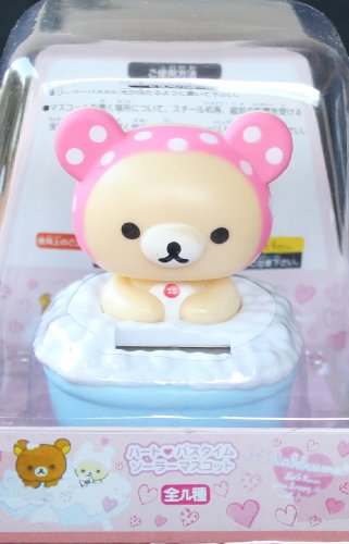 Solar Bobblehead Toy Figure - Sweet Bear in Bathtub (Pink)