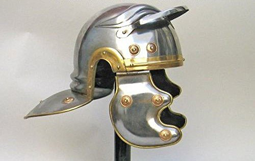 Simple Roman Guard Helmet in Steel w/ Brass - Wearable Costume