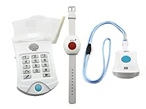 Medical Alert System - NO MONTHLY FEES - Includes WATERPROOF Pendant and Wrist Wireless Help Buttons - Elderly Home Help Alarm Life Monitor by Life Link Response