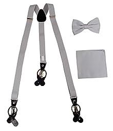 Men\'s Gray Solid Convertible Skinny Suspender Combo Set Bowtie & Hanky