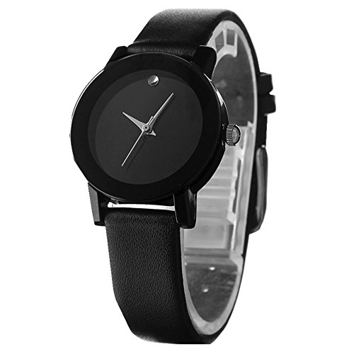 Masione Sinobi Fashion Men'S Leather Band Stainless Steel Quartz Watch Black (Women, Black) front-504026