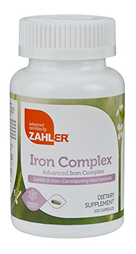 Zahlers Iron Complex, Complete Blood Building Iron Supplement with Ferrochel, Easy on the Stomach Iron Pills with Vitamin C, Optimal Absorption, Kosher Certified Iron Vitamins, 100 Capsules (Iron Capsules compare prices)