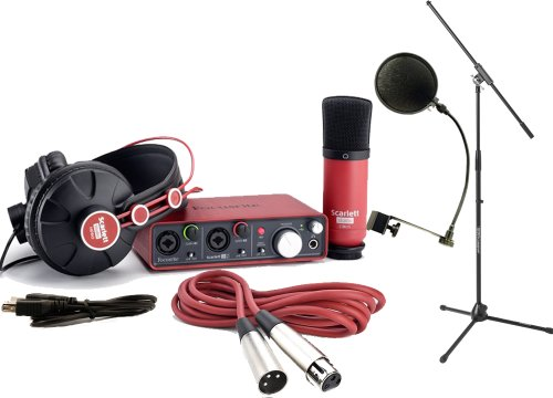 Focusrite Scarlett Studio Pack W/Cm25 Microphone, Headphones, 2I2, Cubase Le 6 Interface, Mic Cable, Boom Stand, And Pop Filter