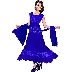 Shree Vardhman Synthetics Women's Unstitched Anarkali Dress Material (Blue_Free Size)...