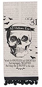 Kay Dee Designs All Hallows Eve Skeleton Skull Halloween Tea Towel with Ball Fringe, H5258 by Kay Dee Designs