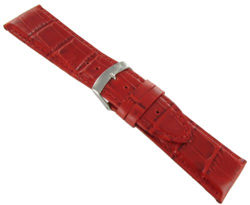 24mm Morellato Alligator Grain Genuine Leather Padded Stitched Red Watch Band Strap