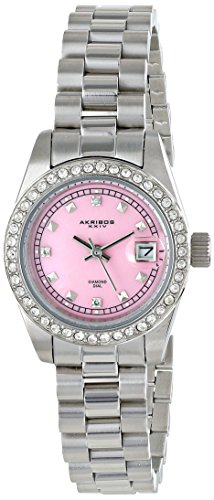 Akribos XXIV Women's AK489PK Impeccable Analog Display Japanese Quartz Silver Watch