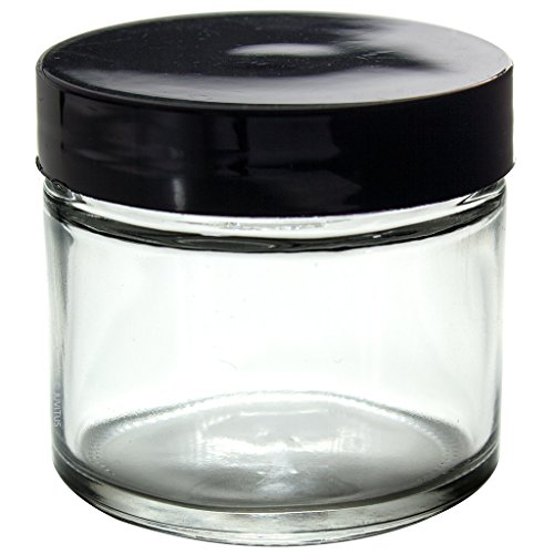 Clear Thick Glass Straight Sided Jar - 2 oz / 60 ml (6 pack) + Spatulas and Labels