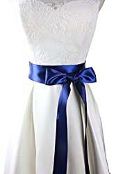 Simple classic colorful ribbon sash for daily dress formal and wedding dress (Navy)