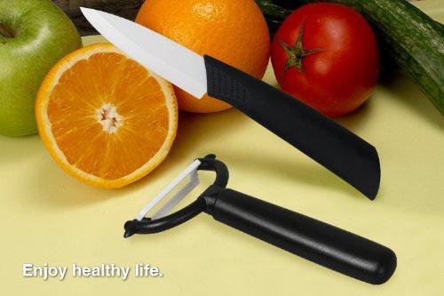 New Ceramic Knife & Y- Peeler Set With Black Handle
