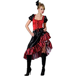 Saloon Dancer Ladies Moulin Rouge Fancy Dress Costume Wild