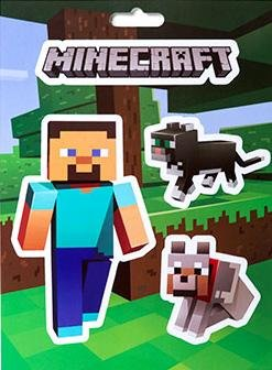 Minecraft Logo Steve Pets Cat Dog Sticker Decal 4-piece Set Official Licensed by J!NX