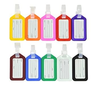 KLOUD City® 10 Pcs Assorted Colors (black, light blue, white, pink, purple, orange, brown, yellow, green, red) Travel Accessories Square-shape Luggage tag / Identifier plus KLOUD City cleaning cloth