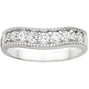 0.25 crt Cubic Zirconia Mounted In Sterling Silver. Vintage Style Contour Wedding Ring.