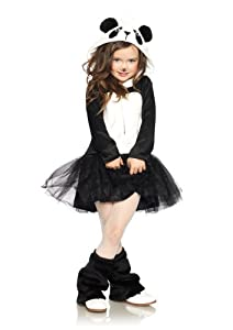 Leg Avenue Costumes Pretty Features Zip Up Petticoat Dress with Plush Panda Hood, Black/White, Medium