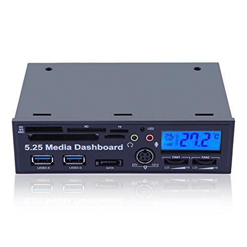 "Gadgetzone(Us Seller) 5.25"" Pc Media Dashboard Lcd Front Panel Usb 3.0 Hub Sd Ms Mmc Cf Xd Tf M2 Card Reader Sata"