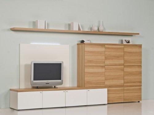Brinkmann-Luxus-Wohnwand-Kernbuche-Echtholz-Furnier-Wei-Hochglanz