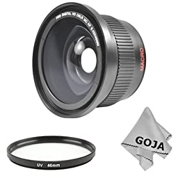 Essential Wide Angle for CANON Rebel (XT, XTi, XSi T1i, T2i, T3i), CANON EOS (550D 500D 450D 400D 350D 300D) - Includes: 0.42X High Definition Fisheye Lens With Macro + 52MM and 58MM S7 Series Adapter Ring Set + Premium Microfiber Cleaning Cloth