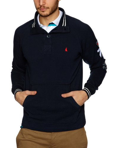 Musto Equator Pique Button Neck Men's Jumpers Navy Medium